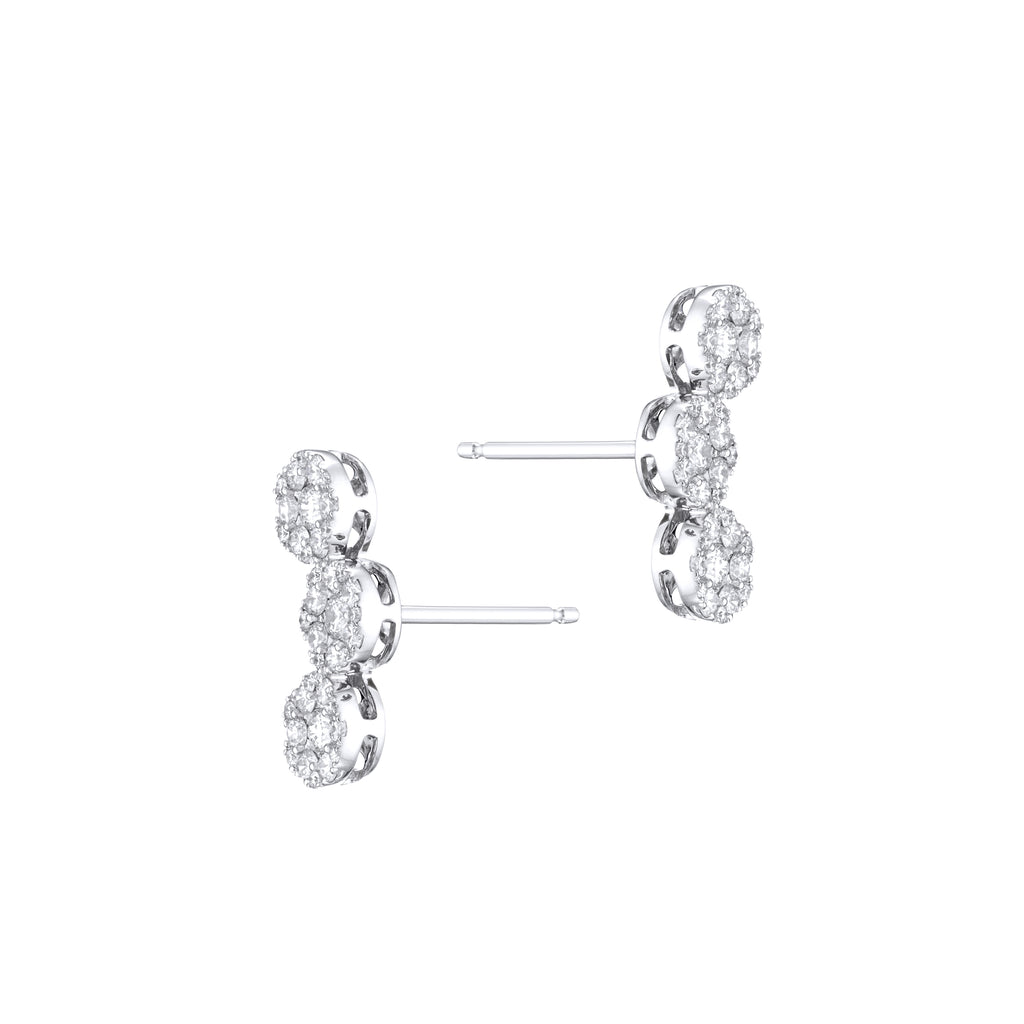 Diamond Circle's Trio Earrings 18K white gold with pin