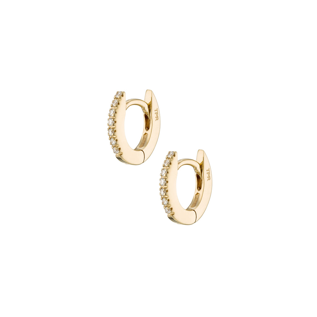 Minimalist Oval  diamond Hoops