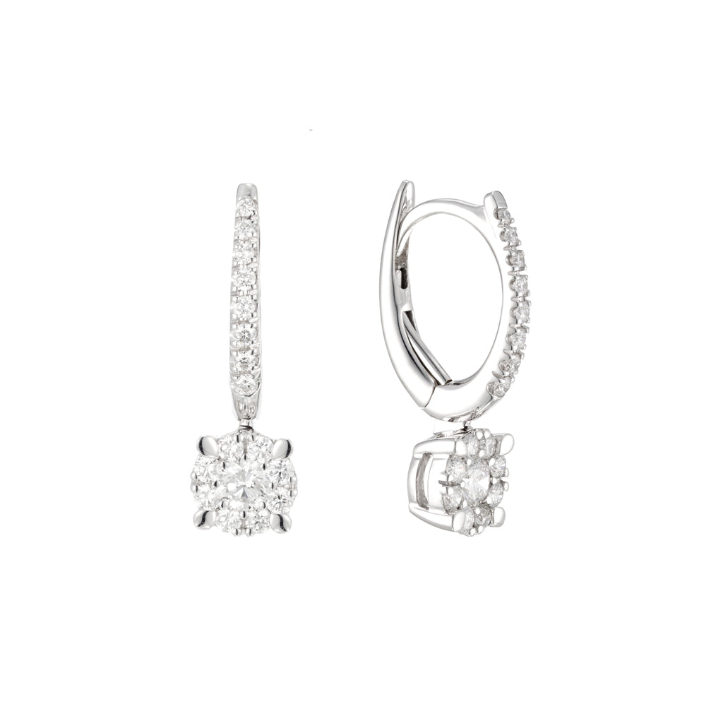 Mini Hoop Earrings With Diamonds Drop 18K white gold side