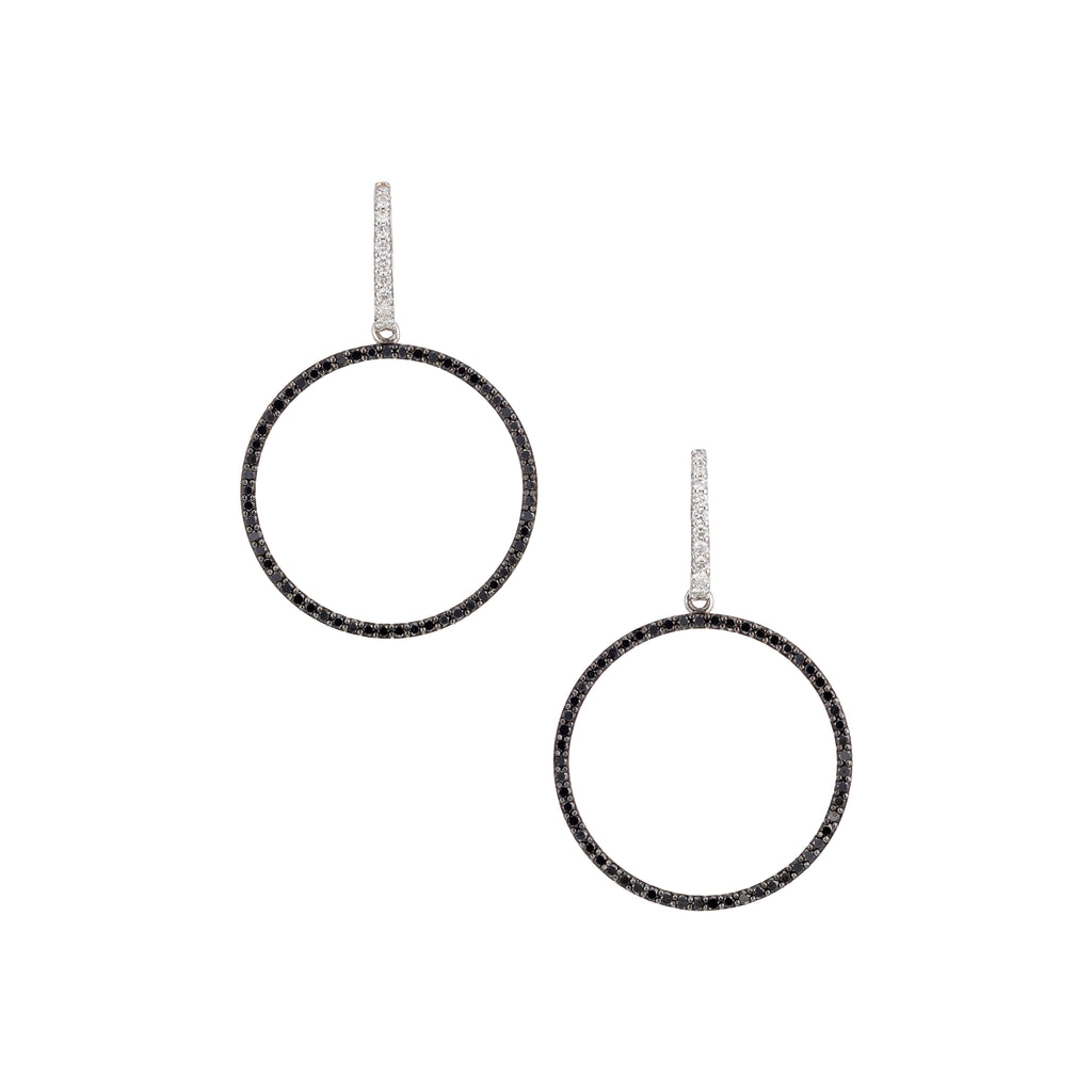 Circle Drop Black and White Diamonds Earrings 18K White Gold