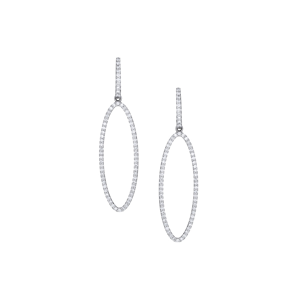 Drop Oval Hoops 18K white gold