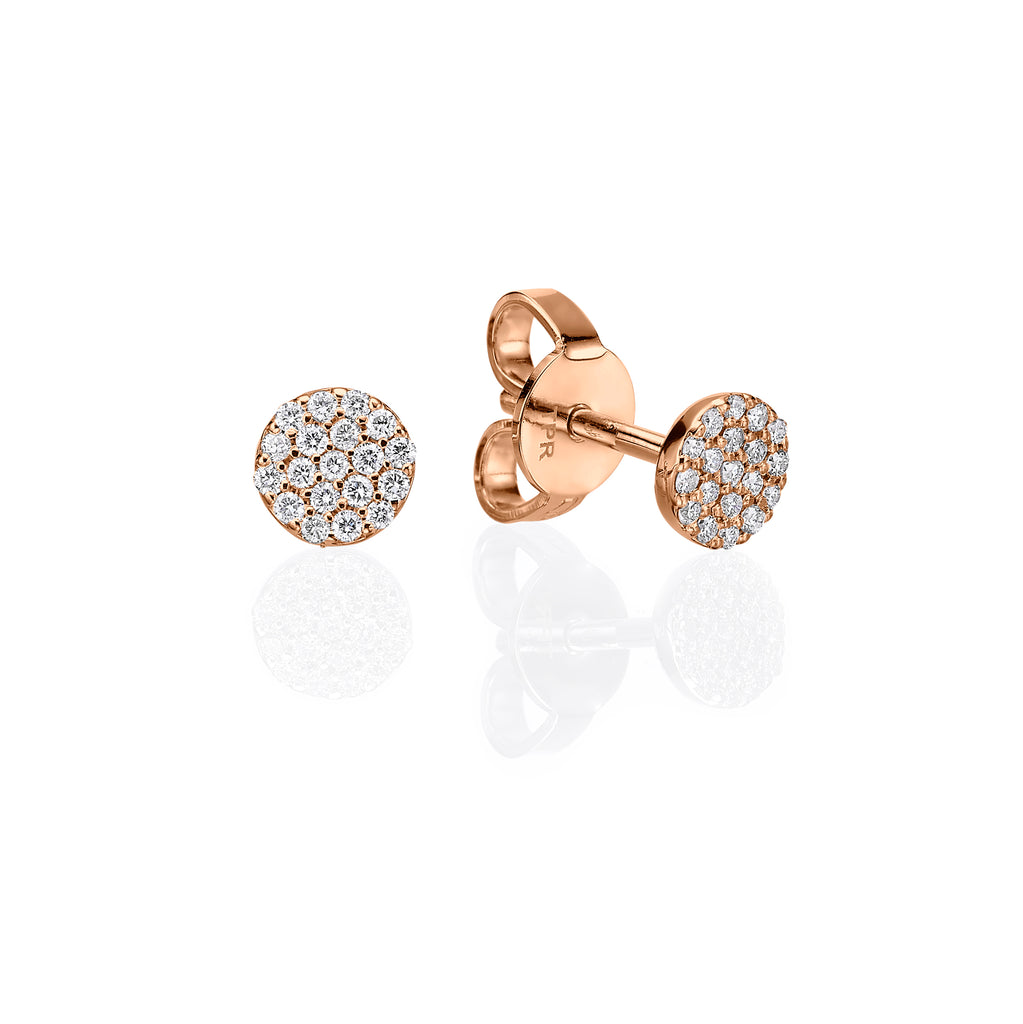 Mini Pavé Stud Earrings rose gold 18K