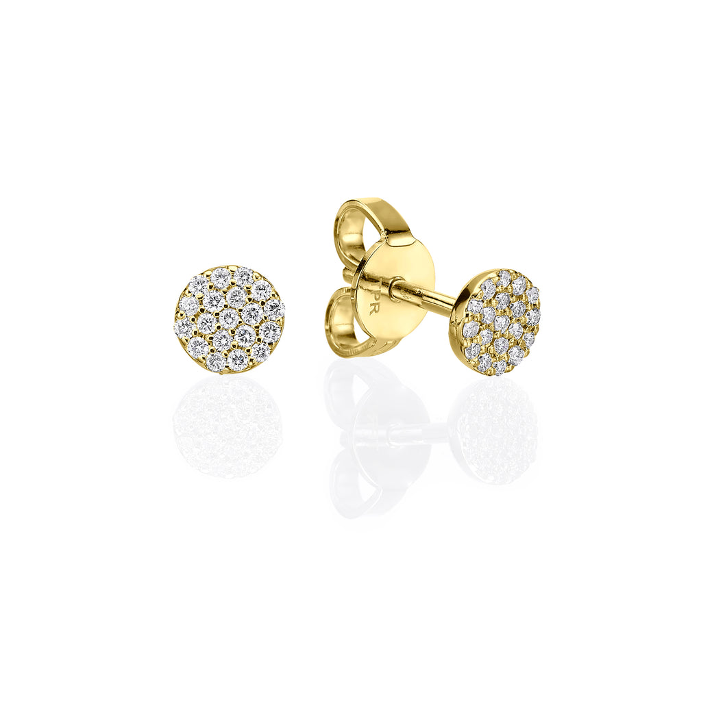 Mini Pavé Stud Earrings yellow gold 18K