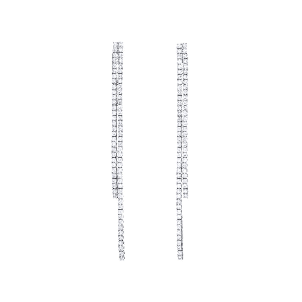 Double Diamond Tennis Earrings 18K white gold