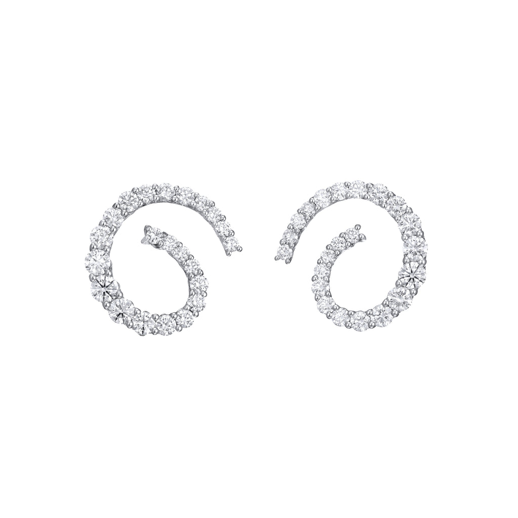 Diamond Spiral Earrings 18K gold