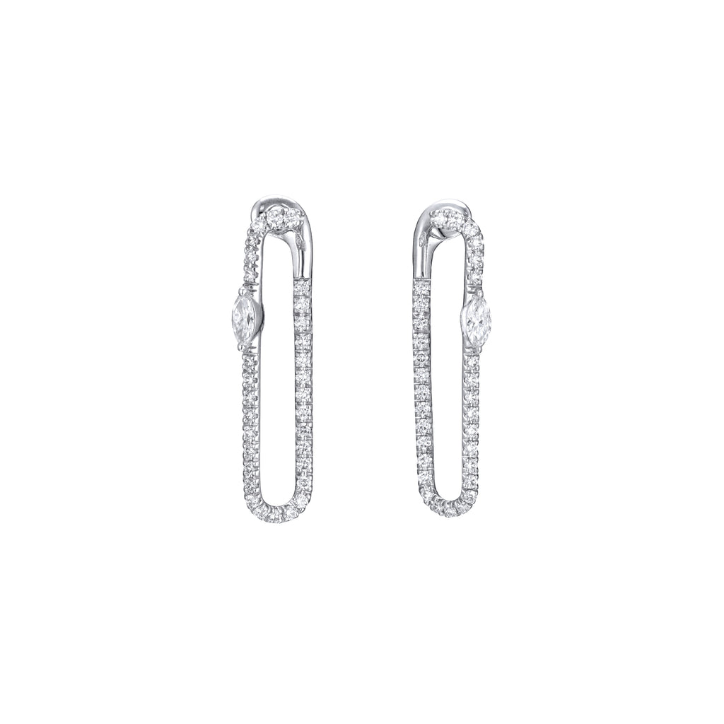 Diamond Paper Clip Earrings white gold 18K gold