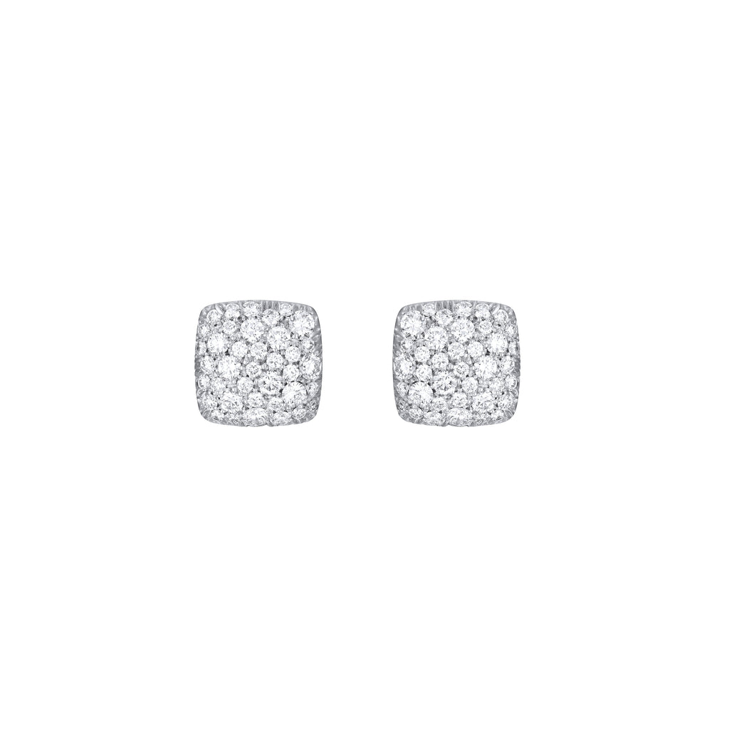 Diamond Pave Cushions Earrings white gold 18K