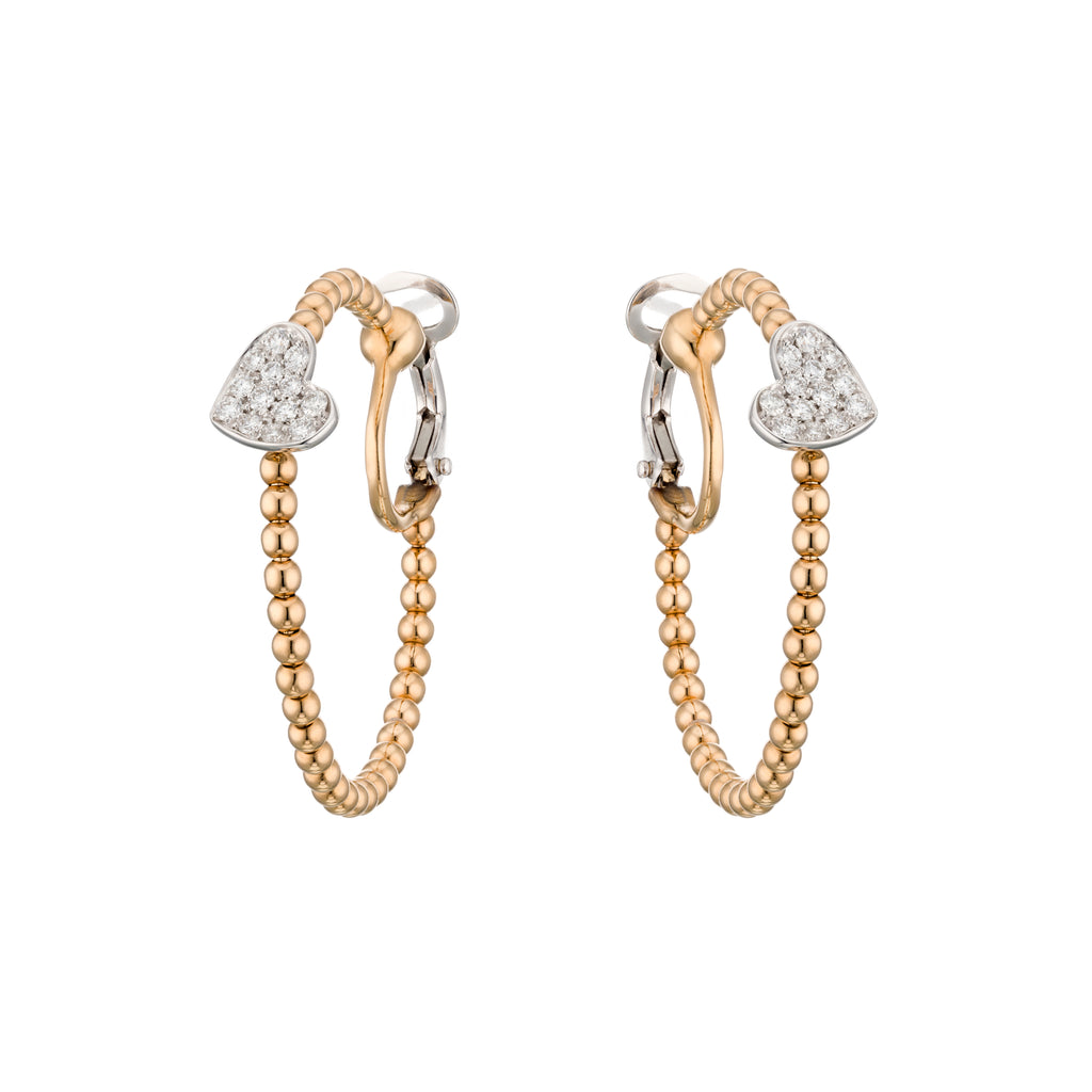 Gold Hoop Earrings with Diamond Heart 18K Gold