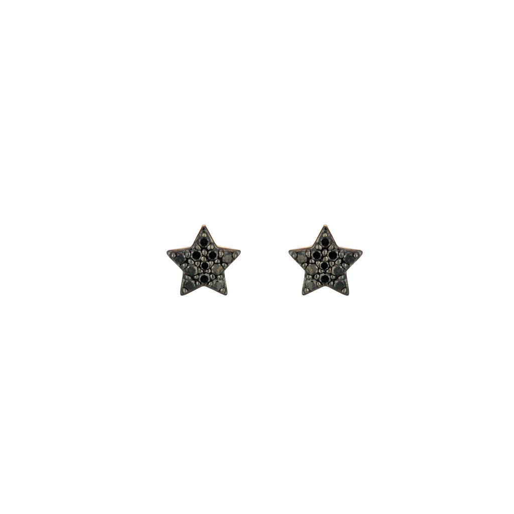 Black Diamond Stars Earrings 18K rose gold
