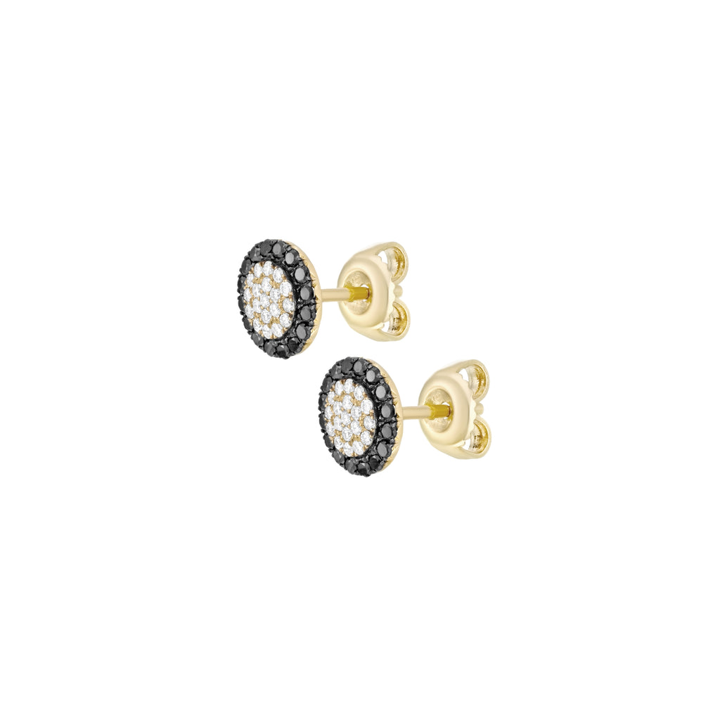 Black and White Diamonds Round Pave Earrings sideview