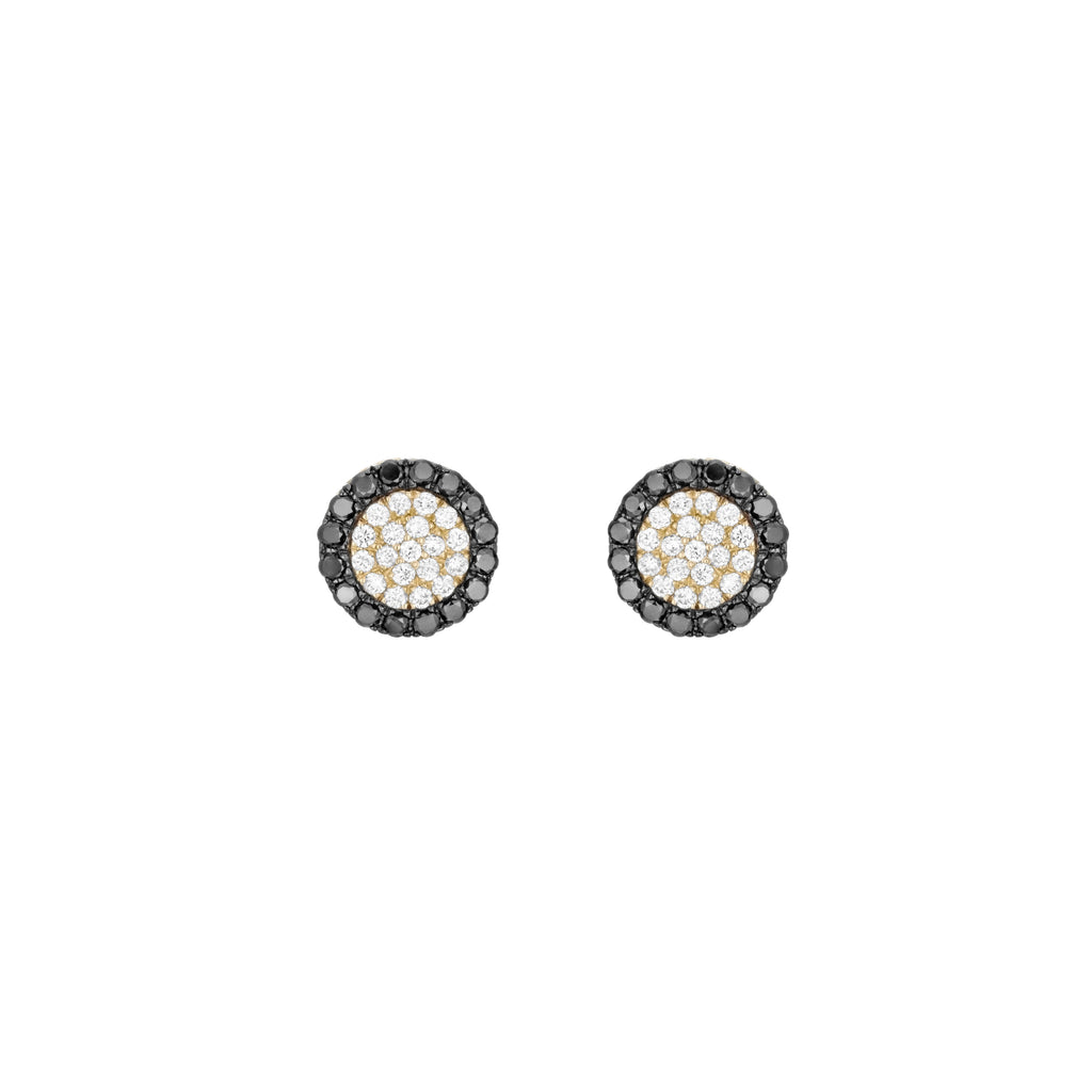 Black and White Diamonds Round Pave Earrings 18K Gold