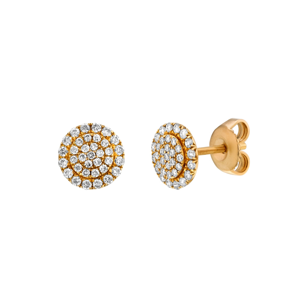 Pave Diamond Stud Earrings yellow gold 18K