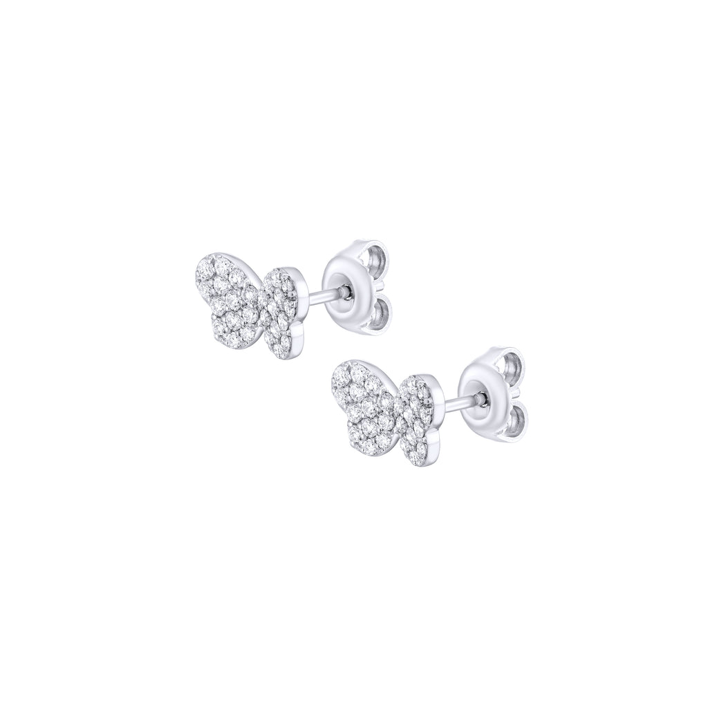 Pave Diamond Butterfy Earrings with clasp white gold