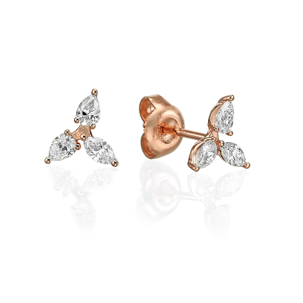 Diamond Triangle Earrings rose  gold 18K