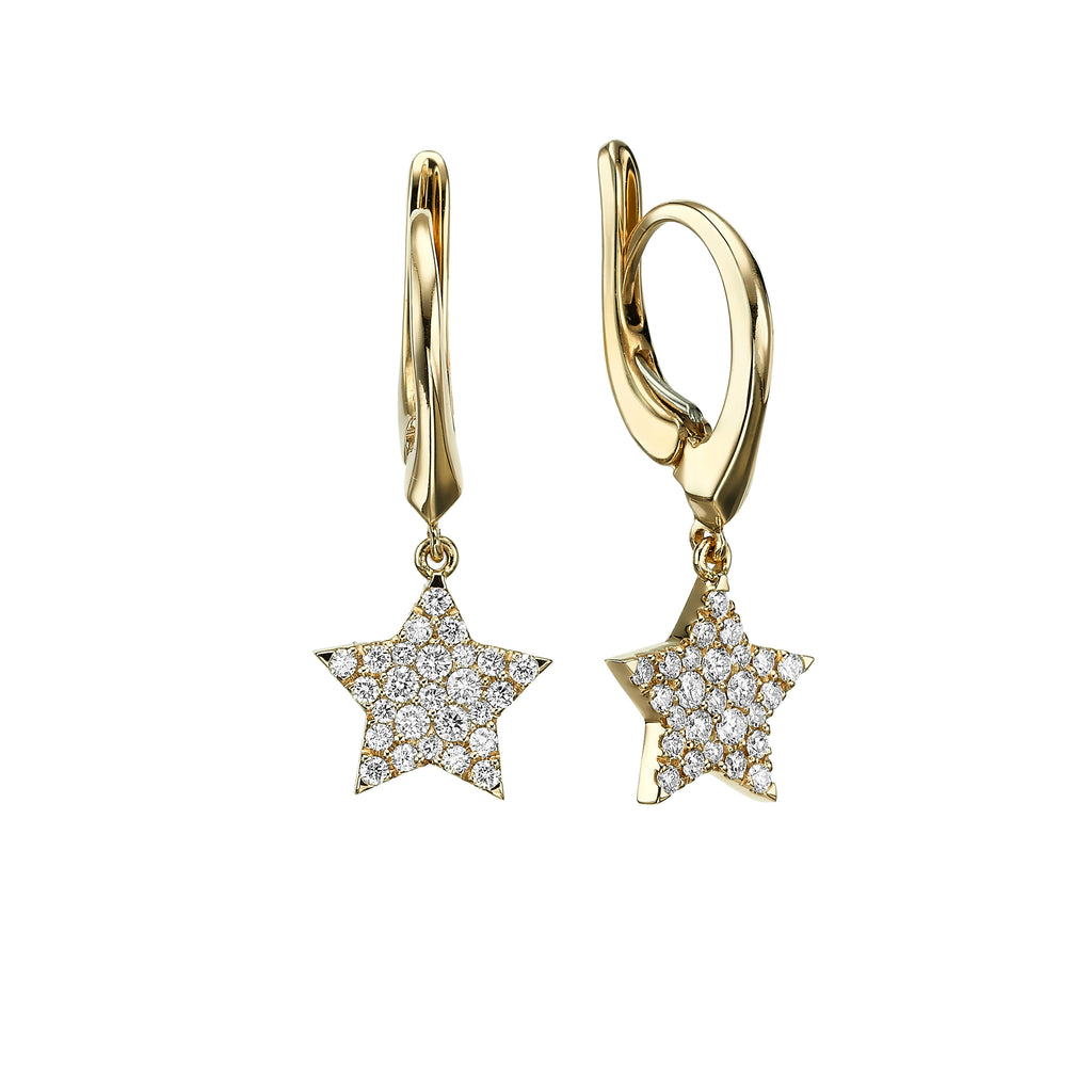 Diamond Star Earrings yellow gold 18K