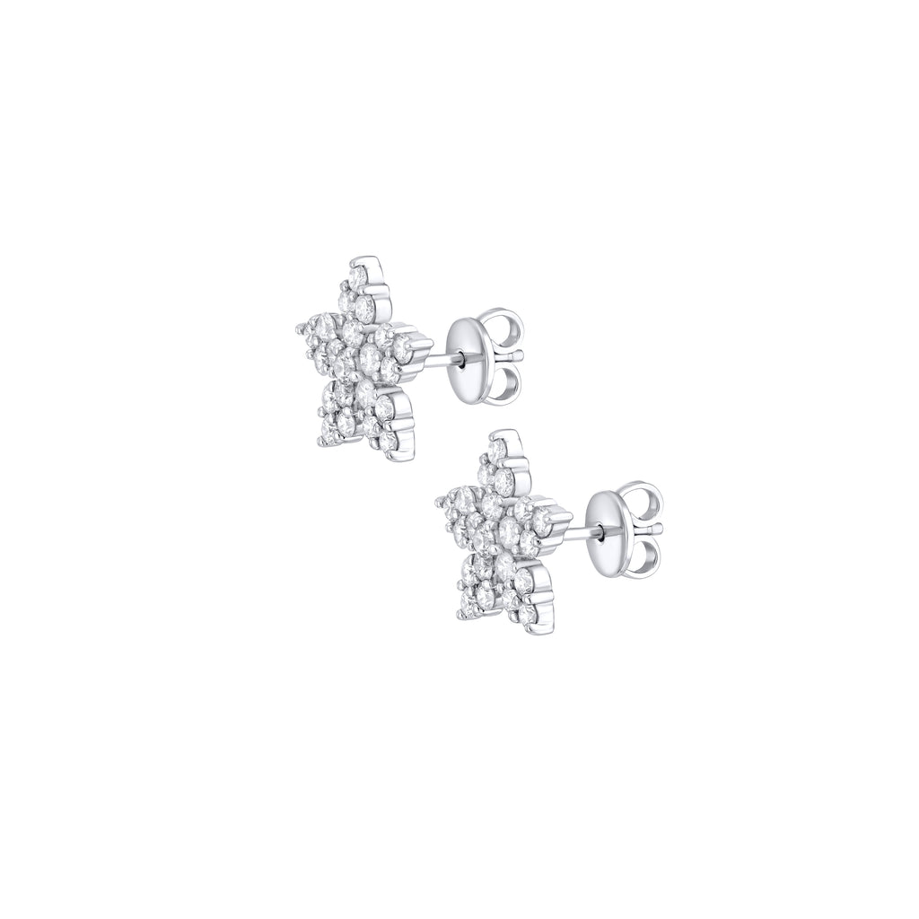 Diamond Snowflake earrings 18K white gold