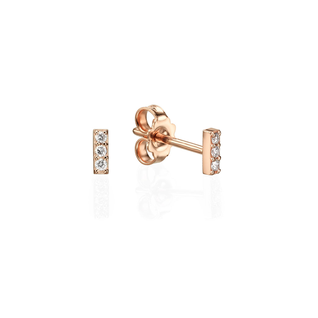 Short Diamond Bar Earrings 18K gold