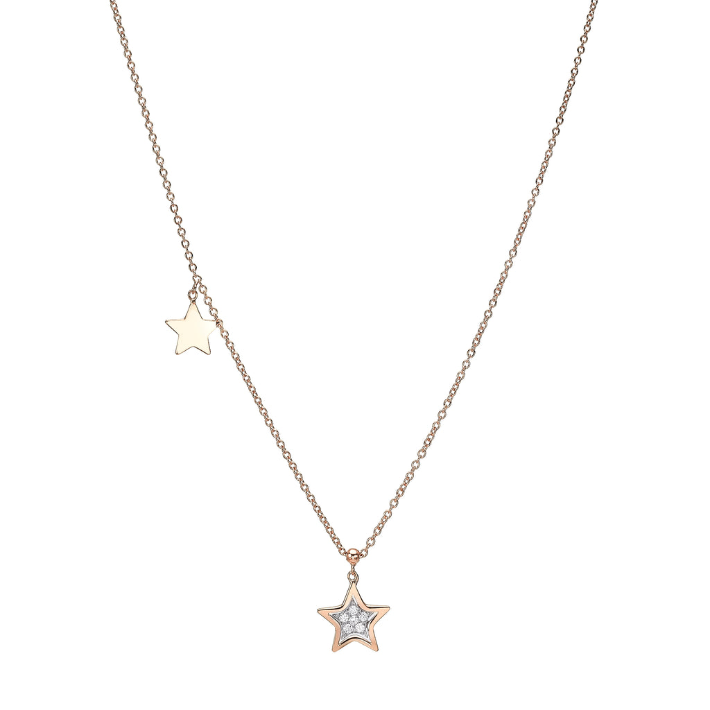 Double Star Diamond Necklace-rose gold 18K