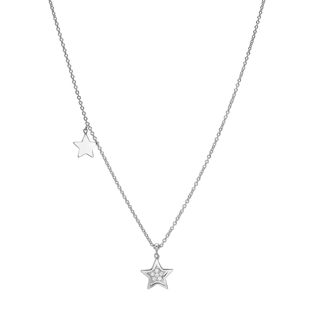 Double Star Diamond Necklace whie gold 18K