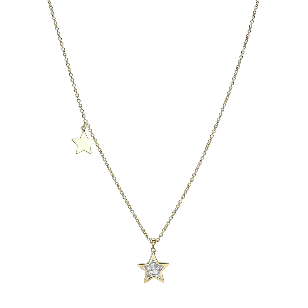 Double Star Diamond Necklace yellow gold 18K