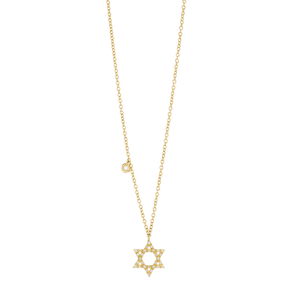 Diamond Star Of David Necklace 18K yellow  Gold
