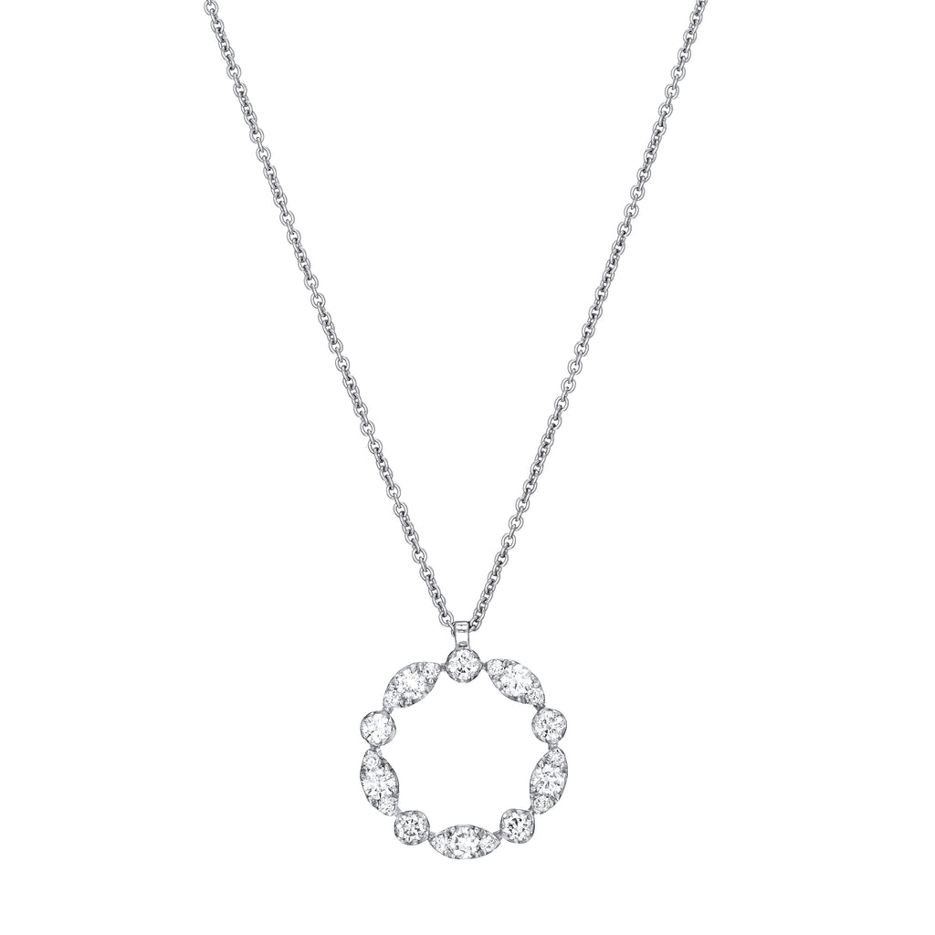 Marquise Circle Diamond Necklace