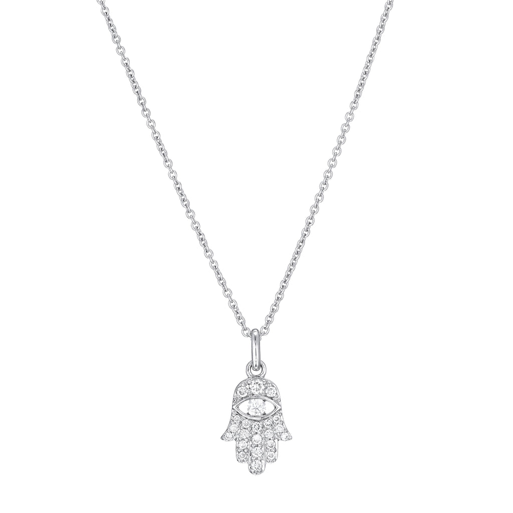 Diamond Hamsa Necklace 18K white gold