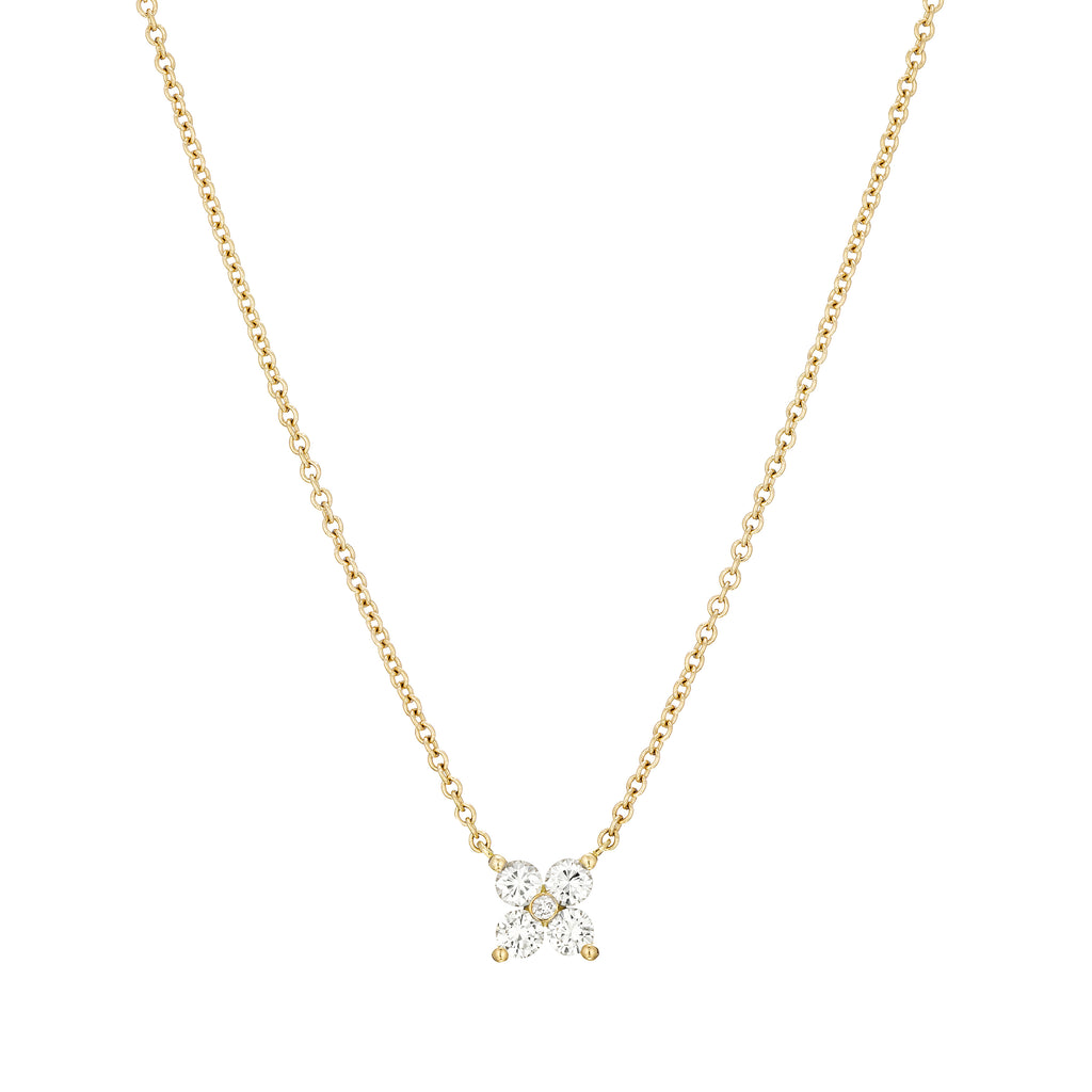 4 Stones Diamond Clover Necklace 18K yellow gold