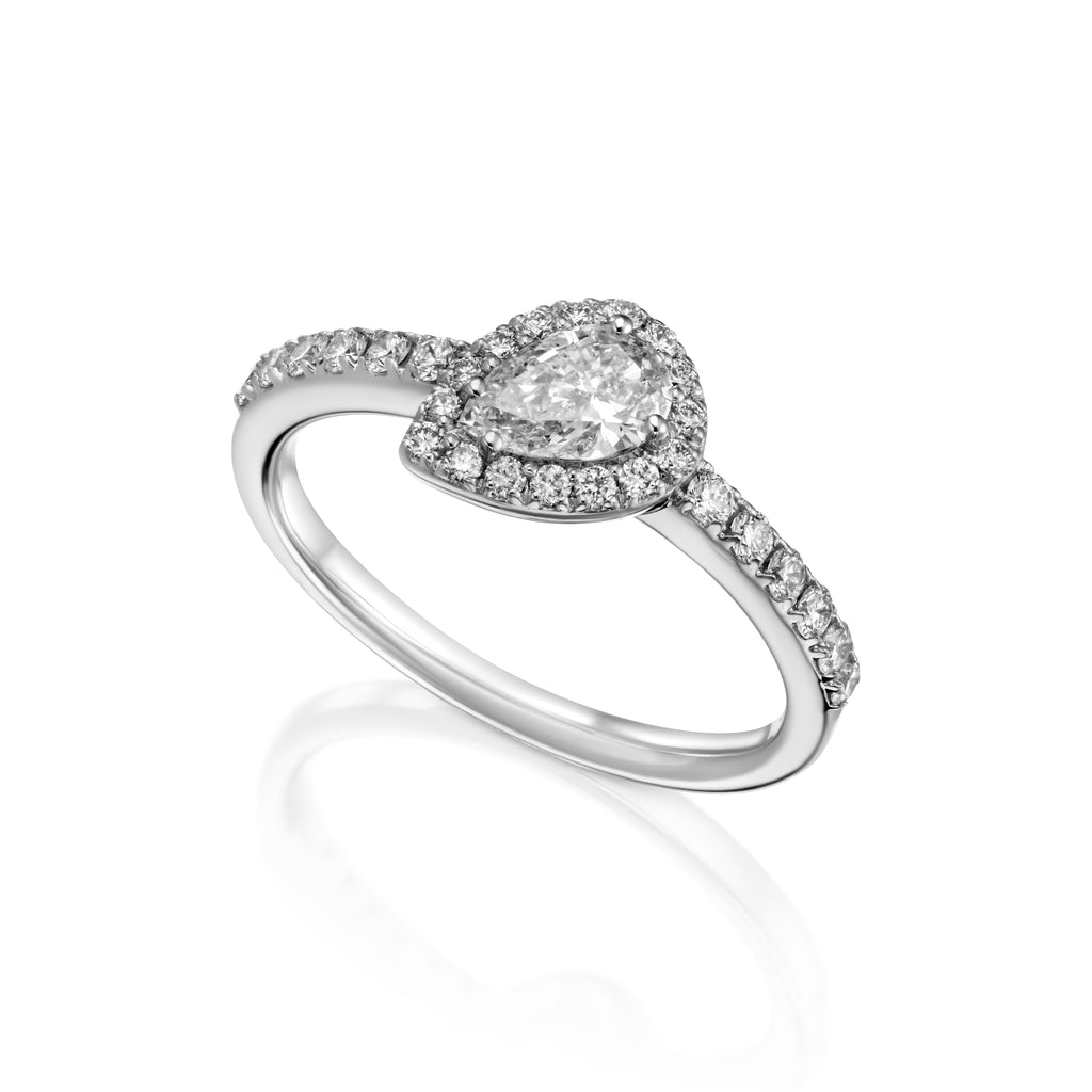 Tilted Pear Shape Diamond Halo Ring  180 degrees