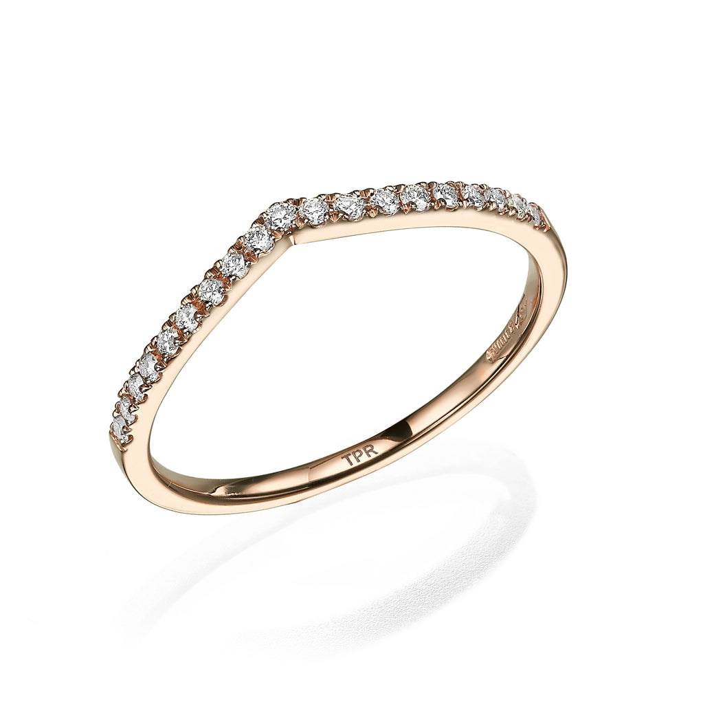 V-Shaped Diamond Stack Ring rose gold 18K