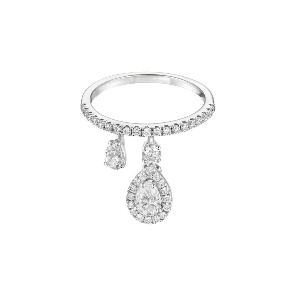 Moving Pear-Shaped Diamond Ring white gold 18K