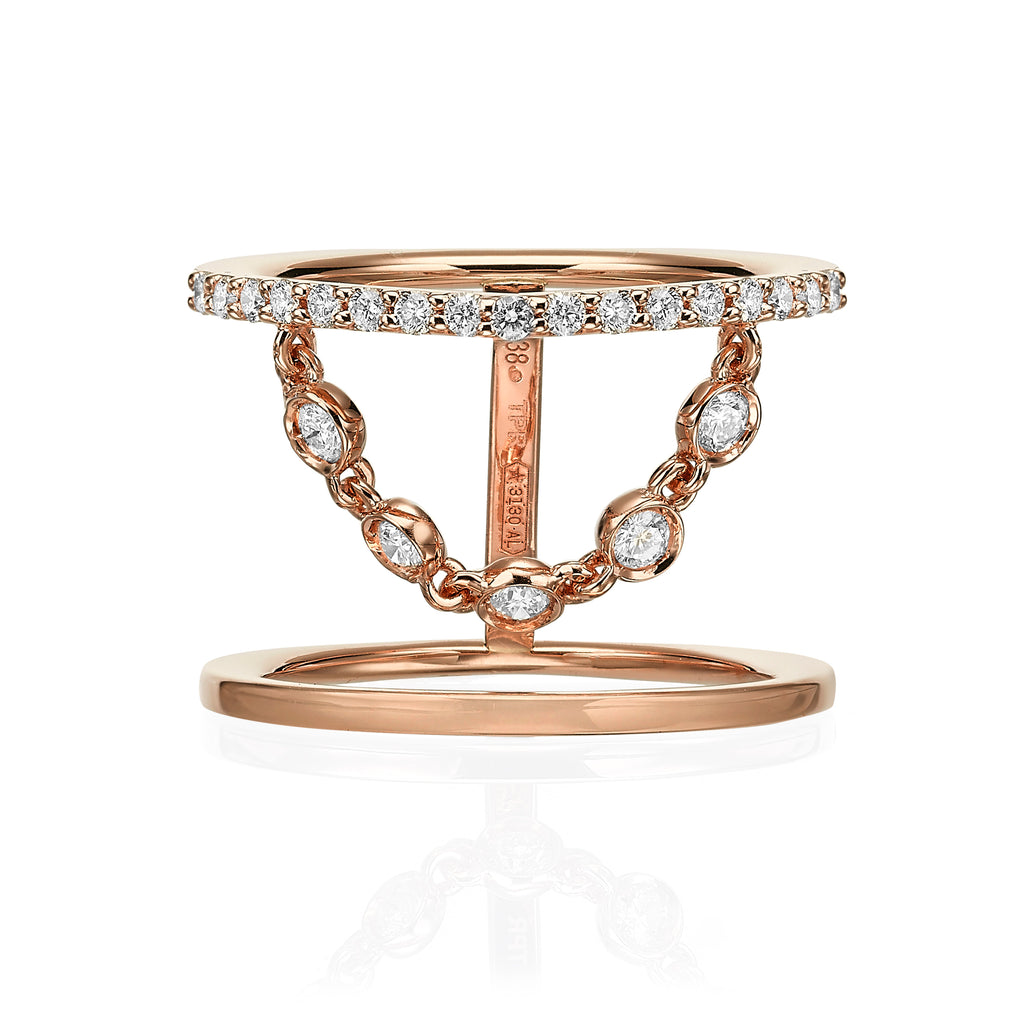 Double Band Ring with Dancing Diamond Chain rose gold 18K sideview