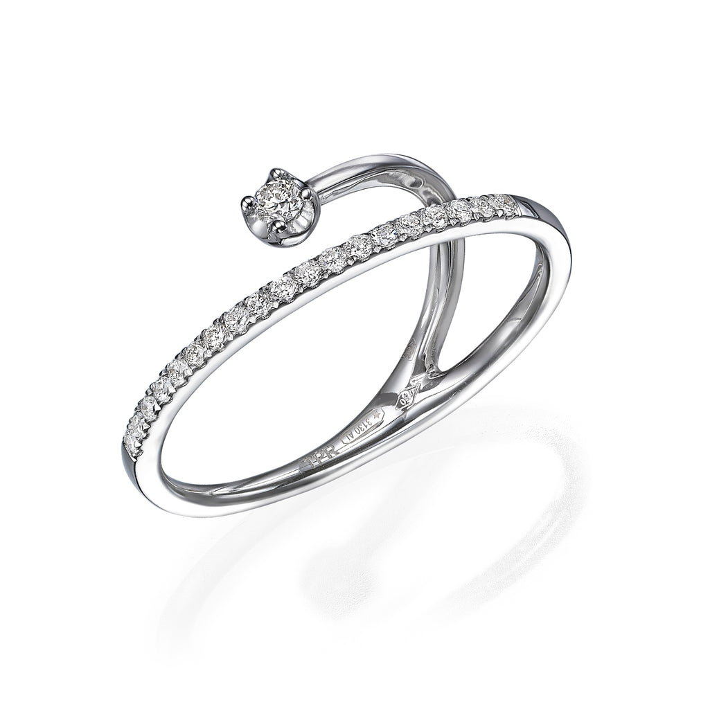 Diamond Band Illusion Ring with Floating Solitaire white gold 18K