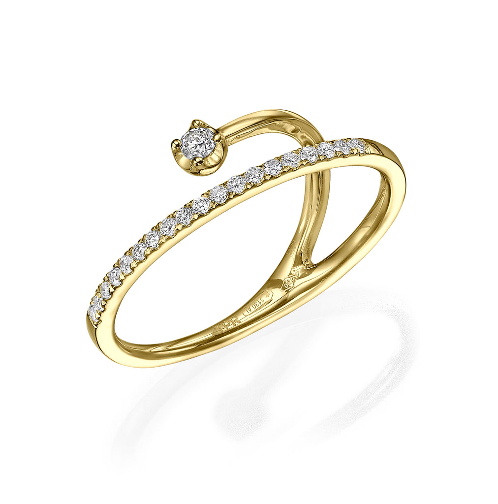 Diamond Band Illusion Ring with Floating Solitaire yellow godl 18K