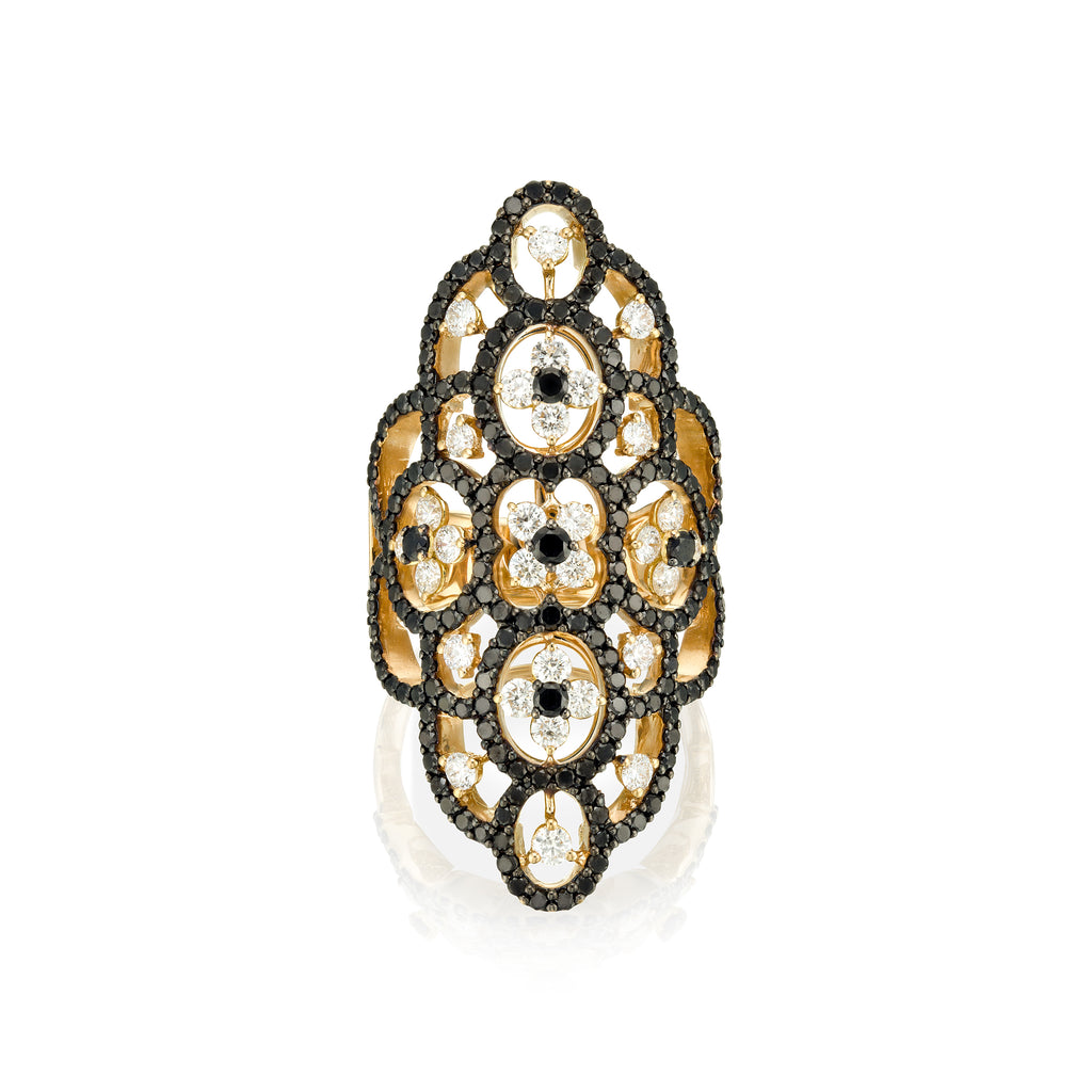 Arabesque Black Diamonds rose gold Ring