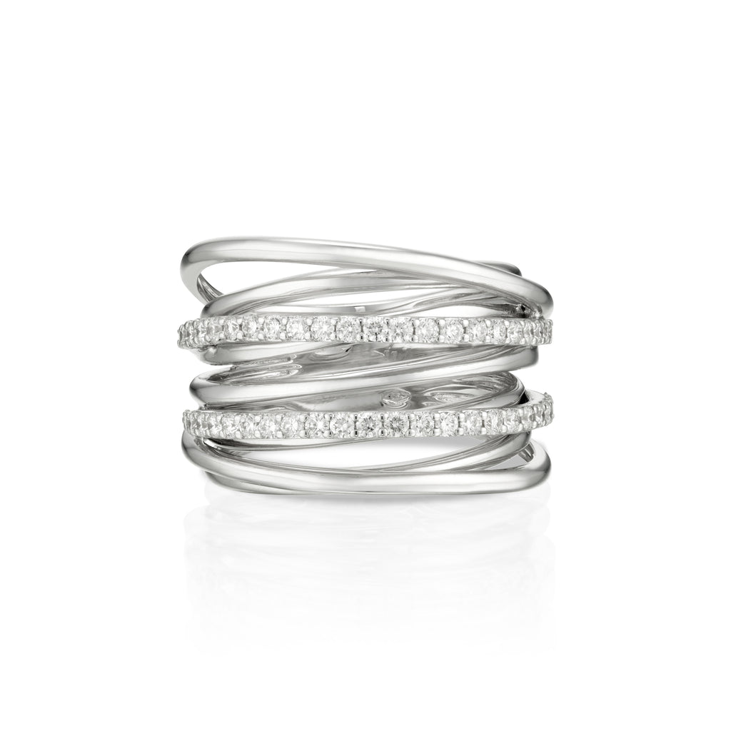 Double Band Spiral Diamond Ring white gold
