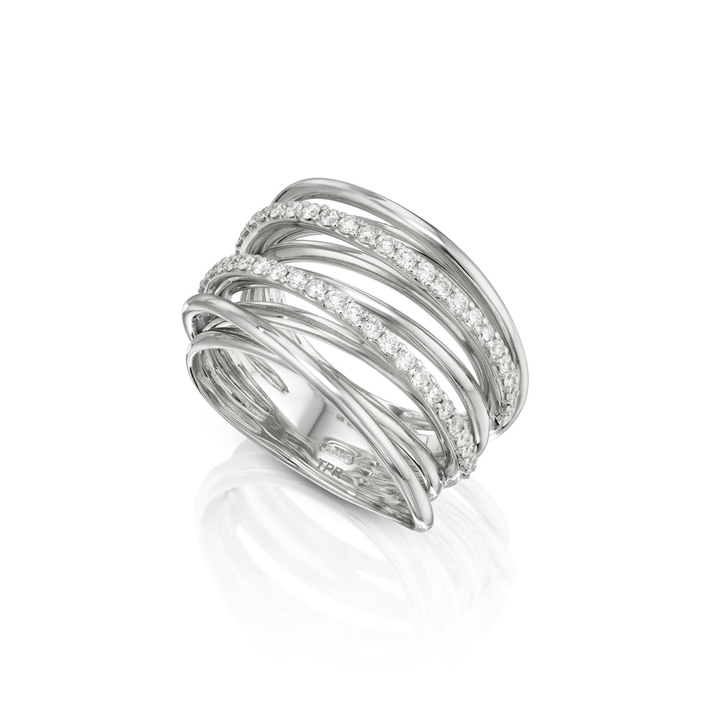 Double Band Spiral Diamond Ring white gold sideview