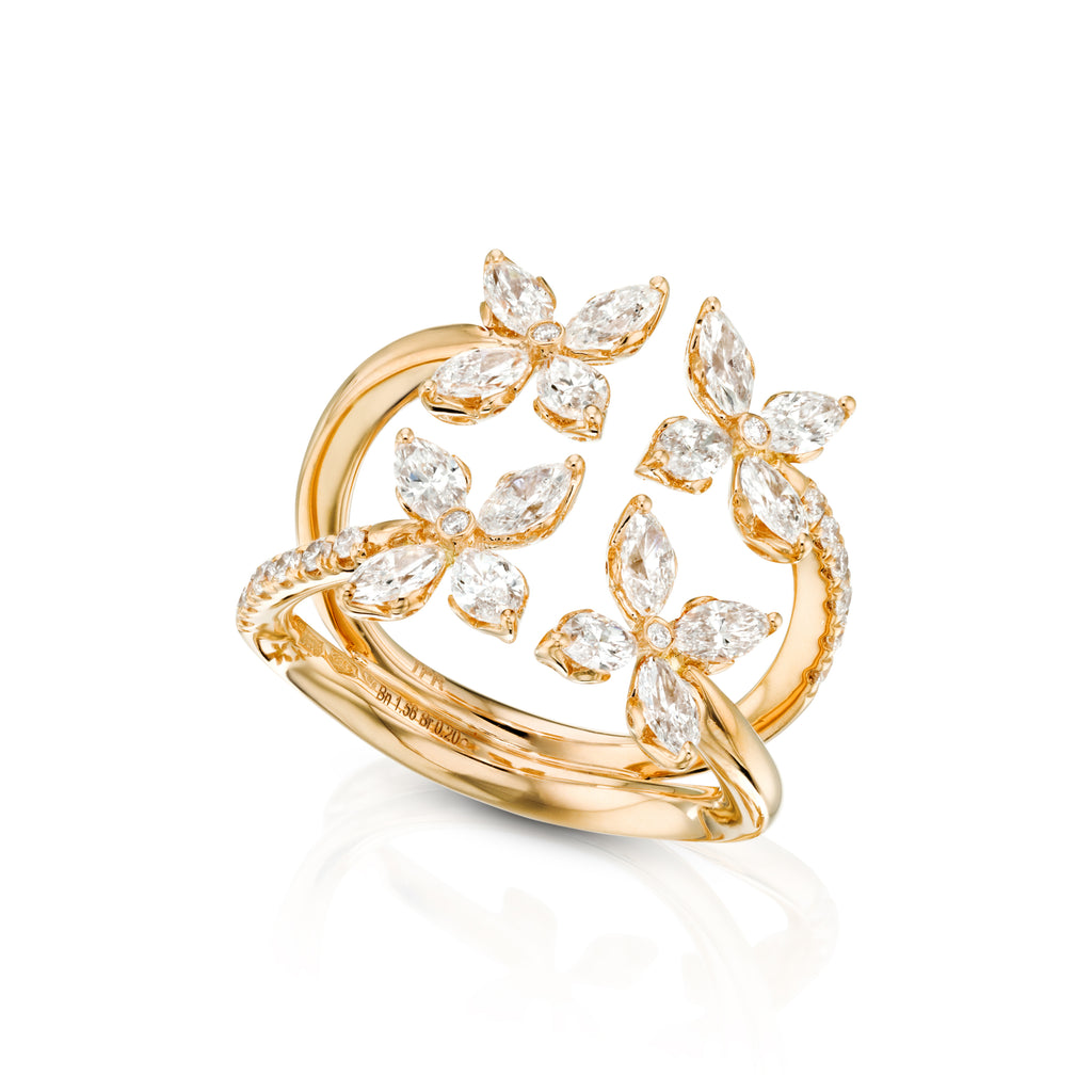 Marquise Diamond Flower Ring sideview