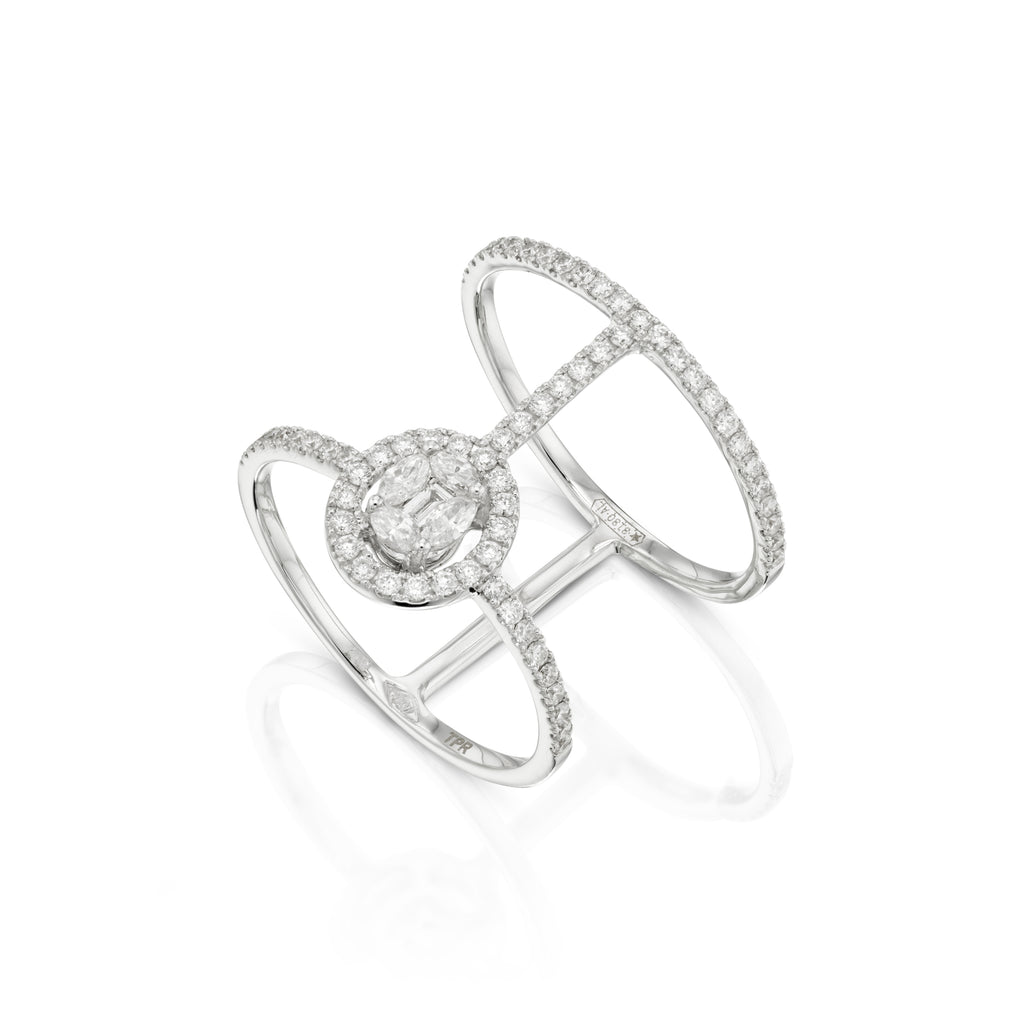 Oval Illusion Diamond Halo Ring white gold 18K side view