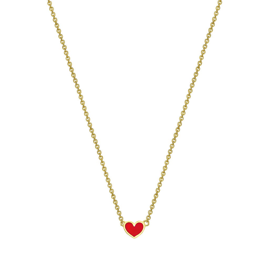 Mini Enamel Heart Necklace yellow gold 18K