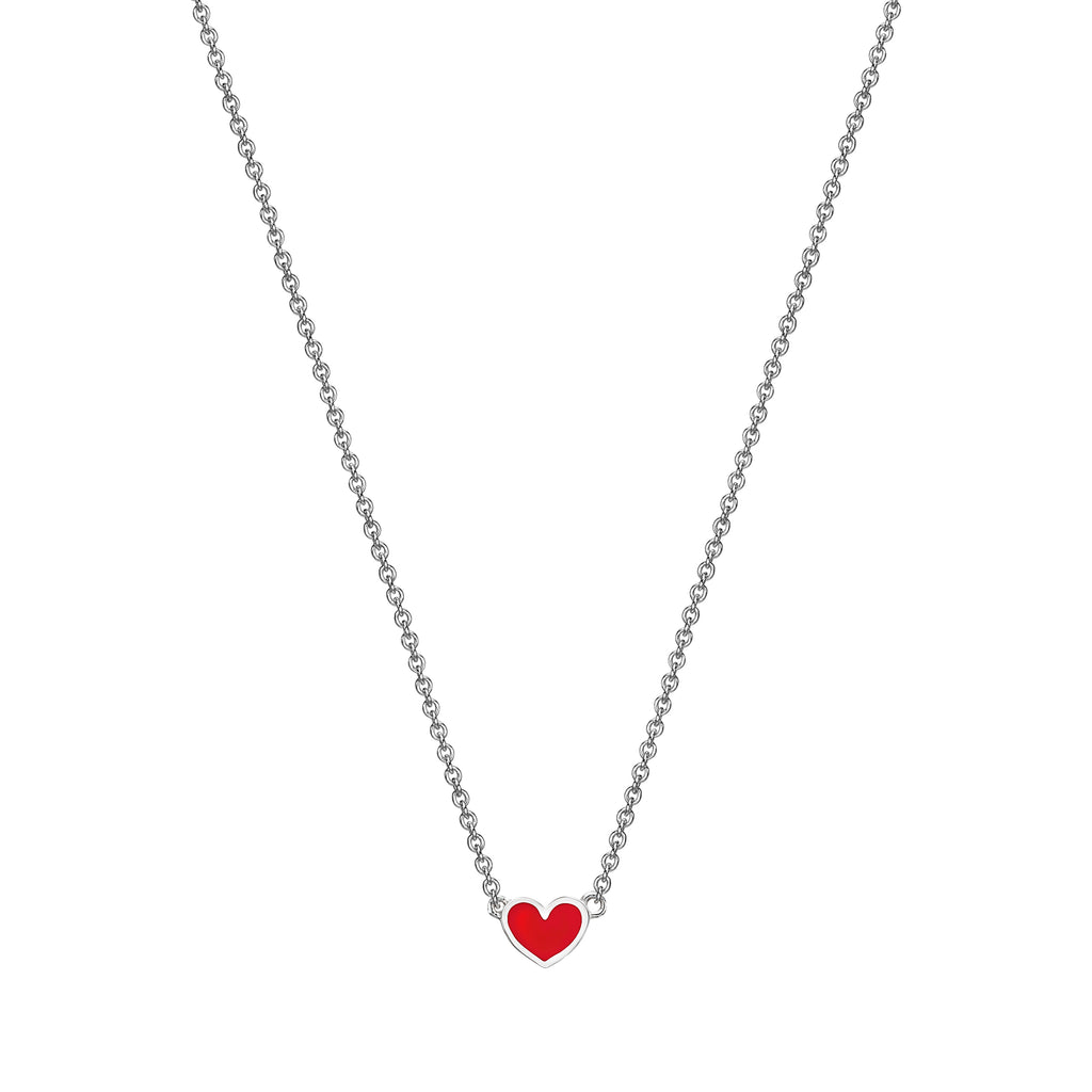 Mini Enamel Heart Necklace white gold 18K
