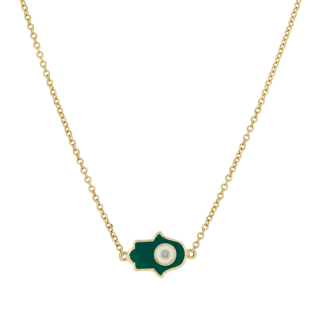 Enamel Hamsa/Fatima necklace 18k gold