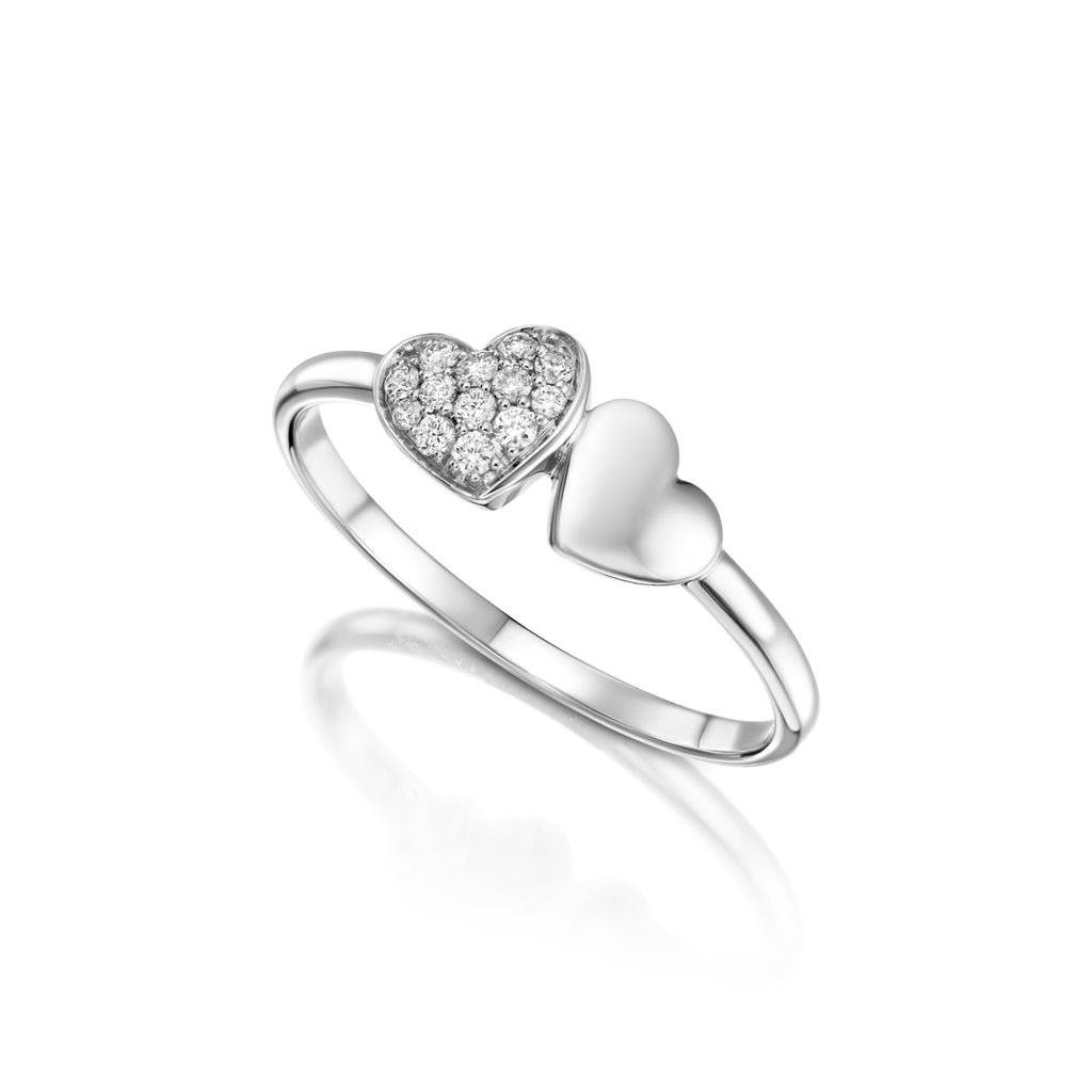 diamond Pave Heart Ring white gold