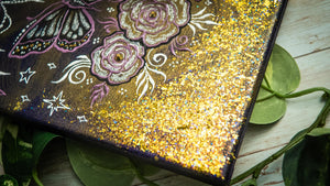 Shimmery Butterfly & Roses Canvas | One-of-a-kind!