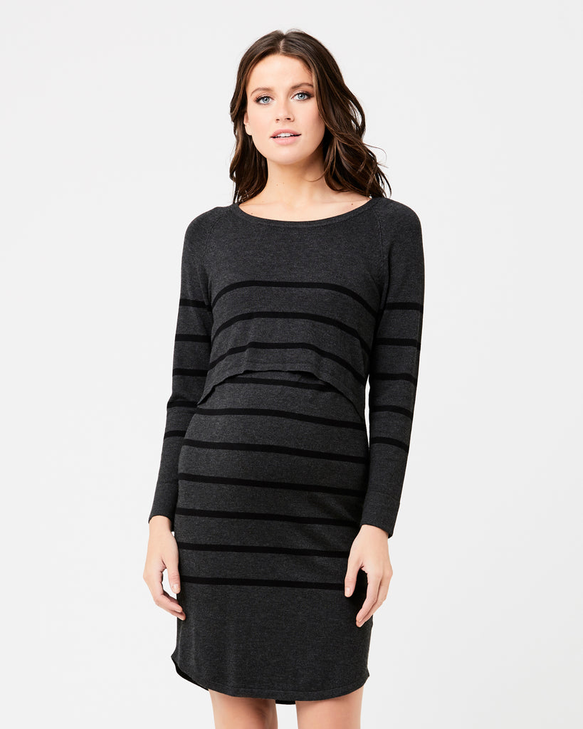 Valerie Striped Grey & Black Maternity & Nursing Tunic Dress