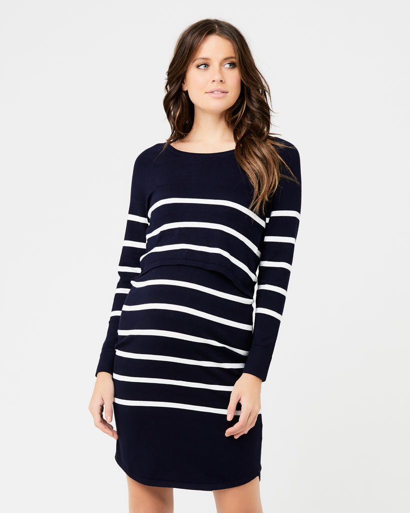 Stripe Navy White Maternity & Nursing Tunic Dress