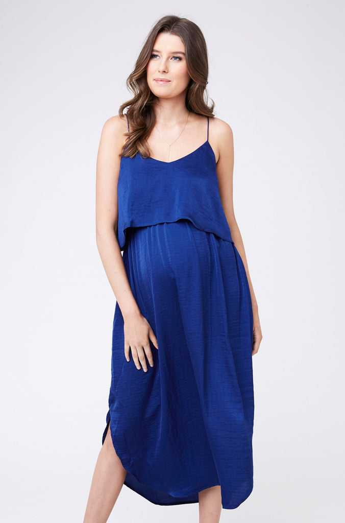 Blue Maternity & Nursing Slip Dress