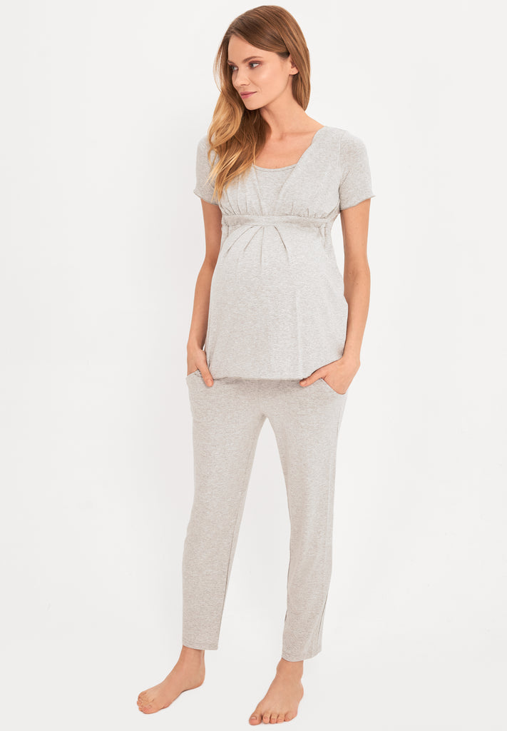 Cotton Soft Touch Grey Maternity & Nursing Pyjamas