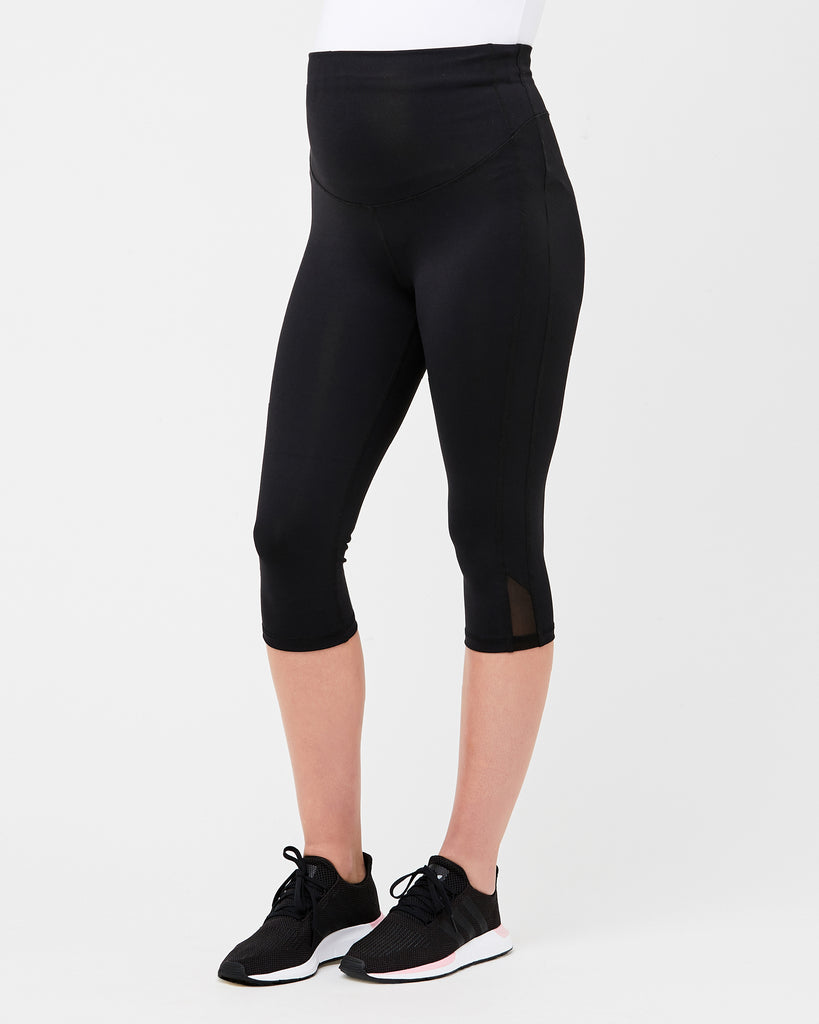 Black Active Maternity Overbump Knee Legging