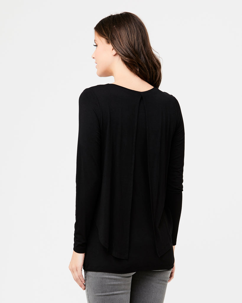 Black Swing Back Maternity and Nursing Top